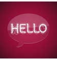 White Glowing Neon Message Hello vector image vector image