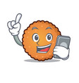 with phone cookies character cartoon style vector image