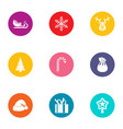 yule icons set flat style vector image vector image
