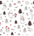 christmas seamless pattern with cute animals vector image