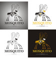 cybernetic robot mosquito drone logo icon set vector image