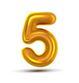 5 five number golden yellow metal letter vector image vector image