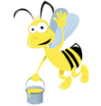 bee flying and honey vector image vector image