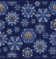 blue and gold snowflakes geometric pattern vector image vector image
