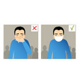boy sneezing in hand and with mask on face vector image vector image