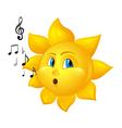 cartoon sun blowing notes vector image vector image