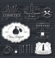cosmetics set label template of emblem element for vector image