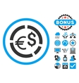 Currency Diagram Flat Icon with Bonus vector image