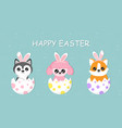 cute cartoon dogs hatching from easter eggs vector image vector image