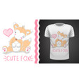 cute fox for print t-shirt vector image