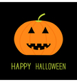 Cute funny pumpkin Halloween card for kids Flat vector image