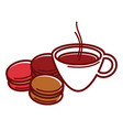 delicious sweet macaroons and cup of hot coffee vector image vector image