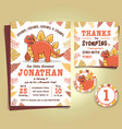 dinosaur birthday party invitation vector image vector image