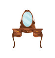 dresser with oval mirror and shelves wooden vector image vector image