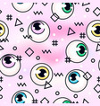 eyeballseyes on a pink background memphis vector image vector image