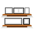 five picture frames on wooden shelves vector image vector image