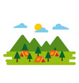 forest camp tents tree pine natural adventure vector image vector image