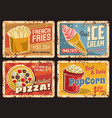 french fries pizza and popcorn ice cream plate vector image vector image