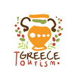 greece tourism logo template hand drawn vector image vector image