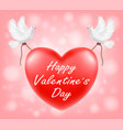 happy valentine day red heart with white pigeon il vector image vector image