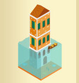isometric flooded building and gondola in venice vector image