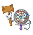 judge cartoon dartcoard next to wooden table vector image vector image