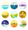 landscape nature icons of mountains ocean vector image