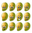 mango with different emoticons vector image vector image