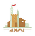 medieval castle with flag ribbon top architecture vector image