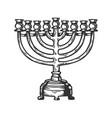 menorah hanukkah engraving vector image