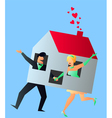 Newlyweds Young Couple Sharing Their New Home vector image