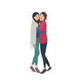 pair of pretty young women standing together and vector image