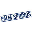 palm springs blue square stamp vector image vector image