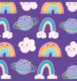 rainbows clouds planet sky space magic cartoon vector image vector image