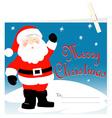 Santa Claus Merry Christmas card with peg vector image