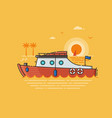 sea vacation with red speed boat vector image