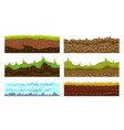 seamless grounds soils and land set for ui vector image vector image