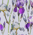 Seamless Purple Floral Background with Iris vector image vector image
