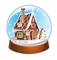 snow globe with gingerbread house and snowflakes vector image