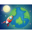 Spaceship flying over the world vector image vector image
