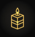 square candle icon in neon line style vector image vector image