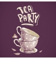 Tea party invitation card with a Cups and Pot vector image vector image
