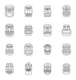 tiki idol aztec hawaii icons set outline style vector image vector image