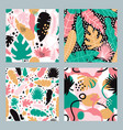 tropical abstract patterns hand drawn seamless vector image