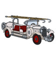 vintage white fire truck vector image vector image