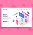 web design concept man interact with site vector image