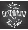 Welcome to our restaurant chalkboard printable vector image vector image