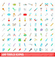 100 tools icons set cartoon style vector image