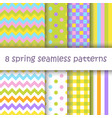set of geometric seamless pattern in easter colors vector image