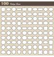 Set of 100 blank vintage frame on white background vector image